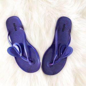 Melissa Jelly Sandals Heart Purple Flip Flops Cute